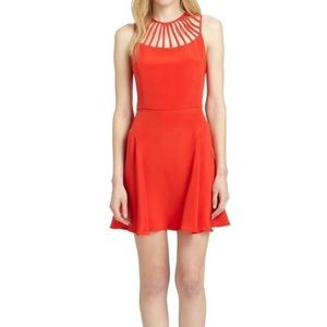 Parker Red Silk Cut Out Top  Mini Dress